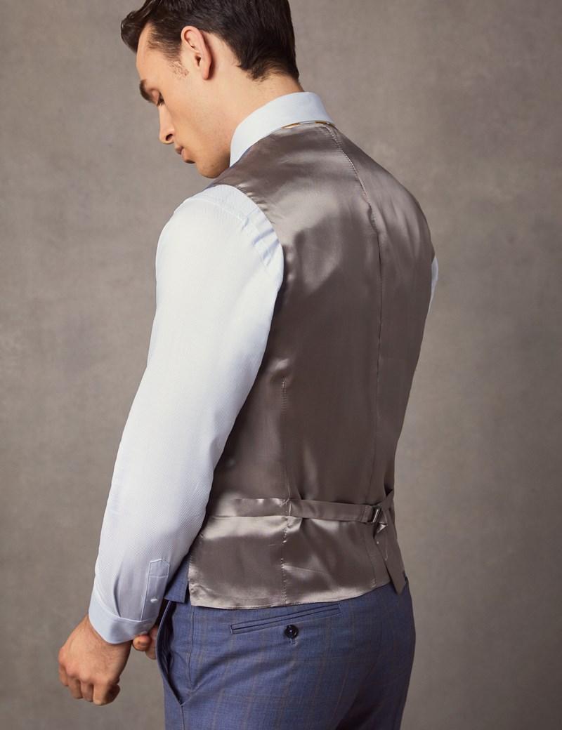 1913 Kollektion – Weste – Tailored Fit – 130S Wolle – Karo mittelblau