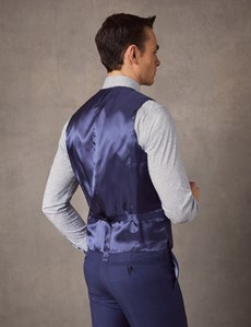 Men's Indigo Prince of Wales Check Tailored Fit Italian Waistcoat – 1913 Collection