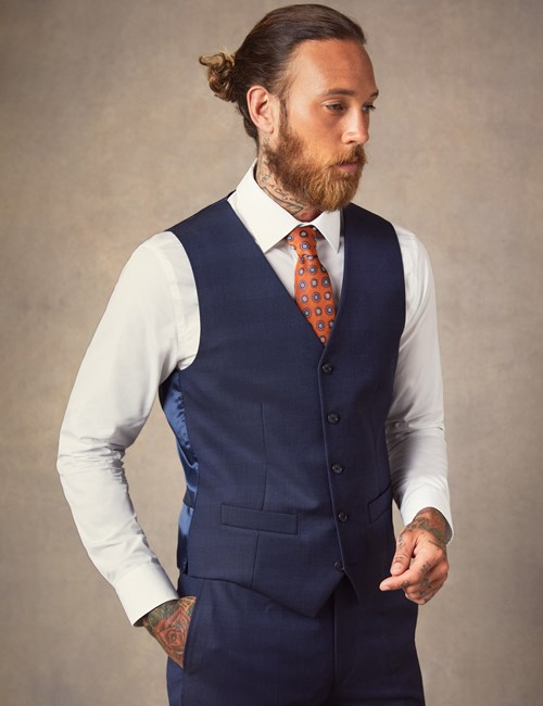 Men's Dark Blue Prince Of Wales Plaid Slim Fit Italian Vest – 1913 Collection