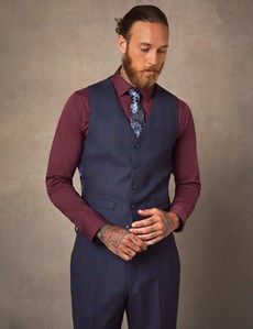 Men's Navy & Red Windowpane Check Tailored Fit Italian Waistcoat – 1913 Collection