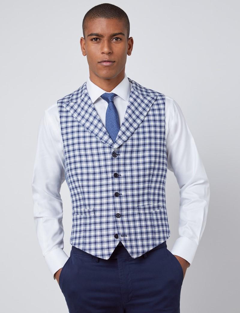 Men's Blue Plaid Italian Wool Linen Blend Vest – 1913 Collection