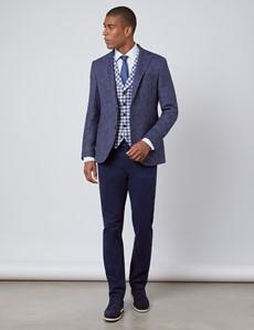 Men's Blue Check Italian Wool Linen Blend Waistcoat – 1913 Collection
