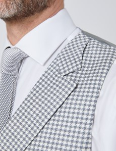 Men's Grey Check Italian Wool Linen Blend Double Breasted Waistcoat – 1913 Collection