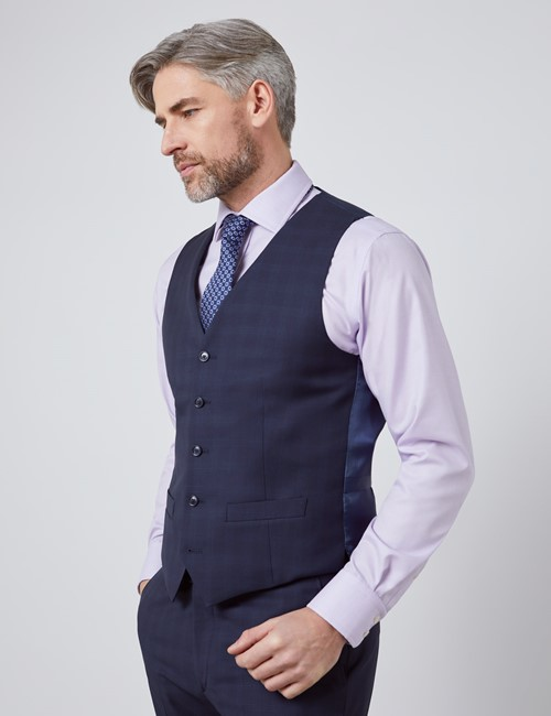 Men's Navy Tonal Check Tailored Fit Italian Waistcoat – 1913 Collection