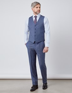 Weste – 1913 Kollektion – Tailored Fit – Wolle – hellblau feines Gitter-Muster