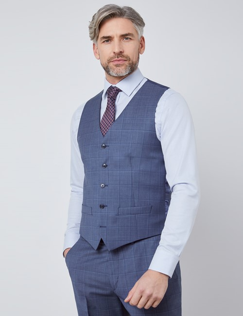 Men's Blue Tonal Plaid Tailored Fit Italian Vest – 1913 Collection
