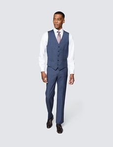 Men's Blue Tonal Check Tailored Fit Italian Waistcoat – 1913 Collection