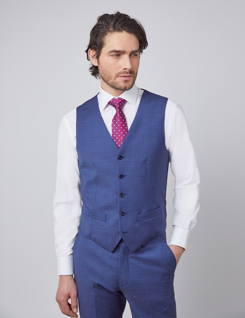 Men's Blue & Purple Grid Check Tailored Fit Italian Waistcoat – 1913 Collection
