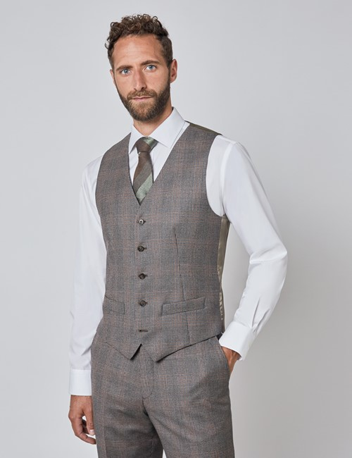 Men's Brown & Orange Prince of Wales Check Tailored Fit Italian Waistcoat – 1913 Collection