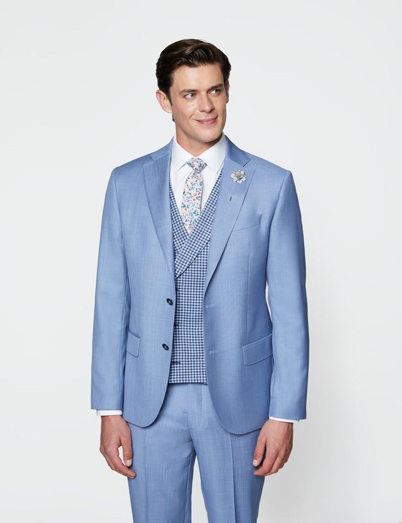 Men's Blue Italian Wool Linen Double Breasted Waistcoat – 1913 Collection