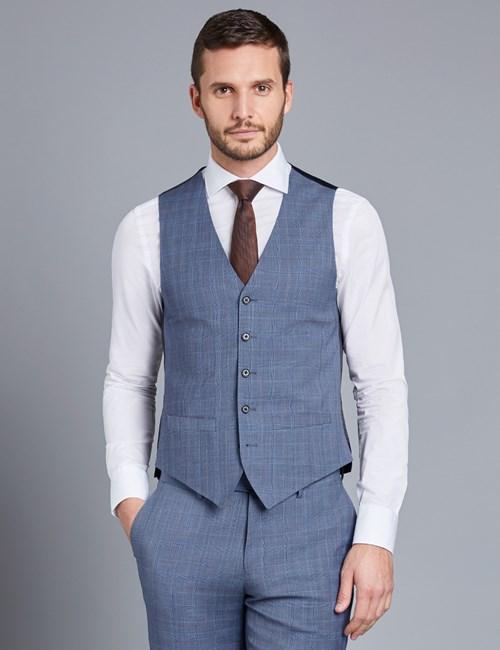 Weste - Slim Fit -100S Wolle -  Prince of Wales Karo hellblau