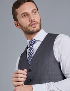 Men's Grey & Light Blue Small Plaid Slim Fit Vest