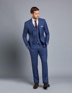 Men's Blue Check Slim Fit Waistcoat