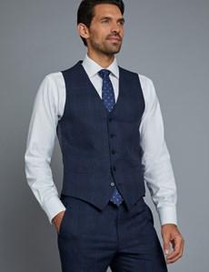 Men's Navy & Blue Windowpane Check Slim Fit Waistcoat