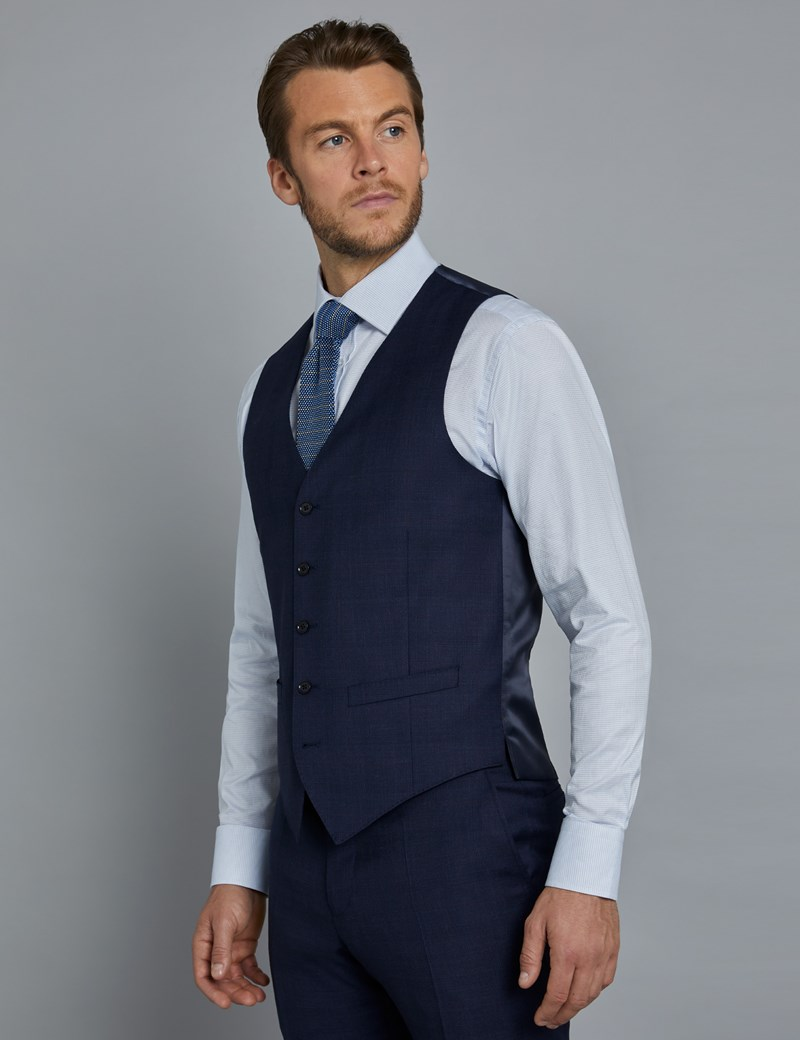 Men's Navy and Red Prince of Wales Check Slim Fit Waistcoat