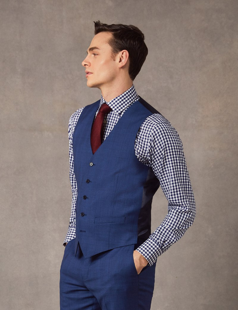 Weste - Slim Fit- 100S Wolle - Prince of Wales Karo indigo