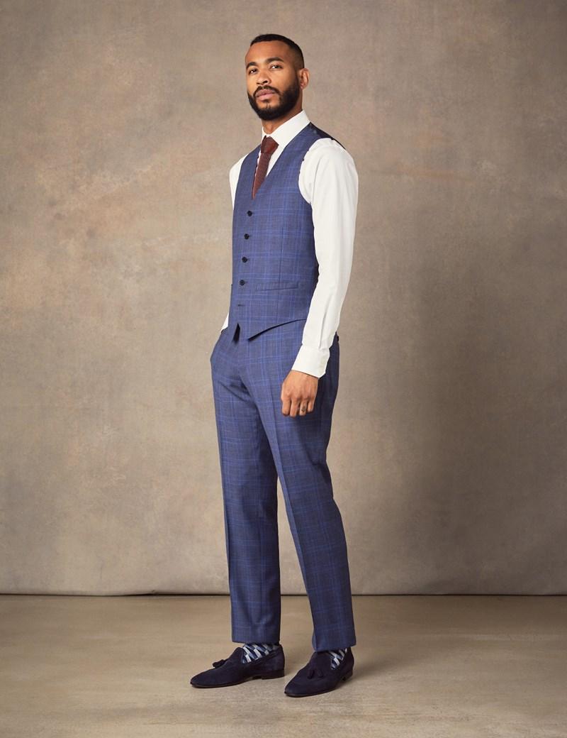 Men's Blue Two Tone Check Slim Fit Waistcoat