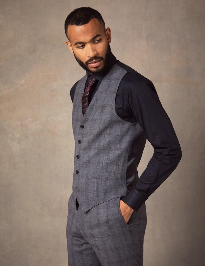 Men's Grey Tonal Plaid Slim Fit Vest