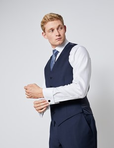 Men's Navy Tonal Plaid Slim Fit Vest