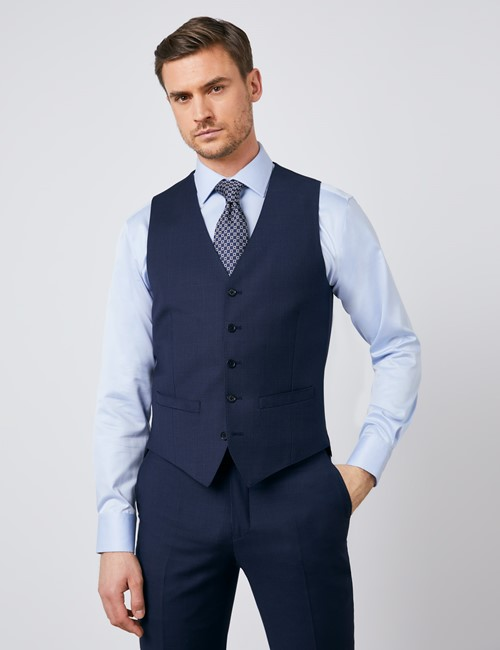 Men's Navy Tonal Plaid Slim Fit Vest