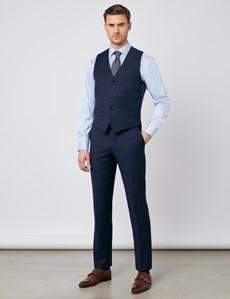 Weste - Slim Fit- 100S Wolle - Marineblaues Karo