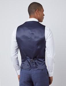 Weste – Slim Fit – 100S Wolle – Overcheck blau