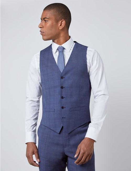 Men's Blue Overplaid Slim Fit Vest