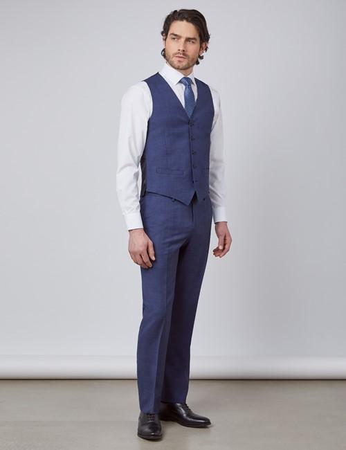 Men's Blue & Brown Overcheck Slim Fit Waistcoat