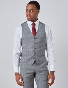 Men's Grey & Light Blue Prince Of Wales Plaid Slim Fit Vest