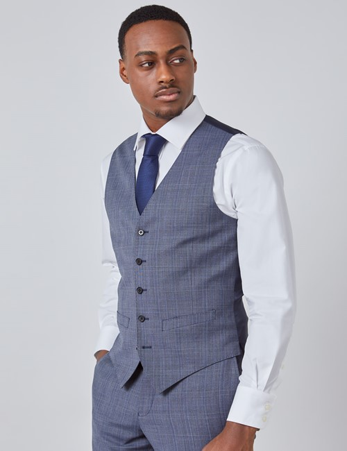 Men's Blue Tonal Check Slim Fit Waistcoat