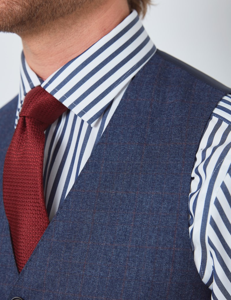 Men's Blue & Red Prince of Wales Check Slim Fit Waistcoat