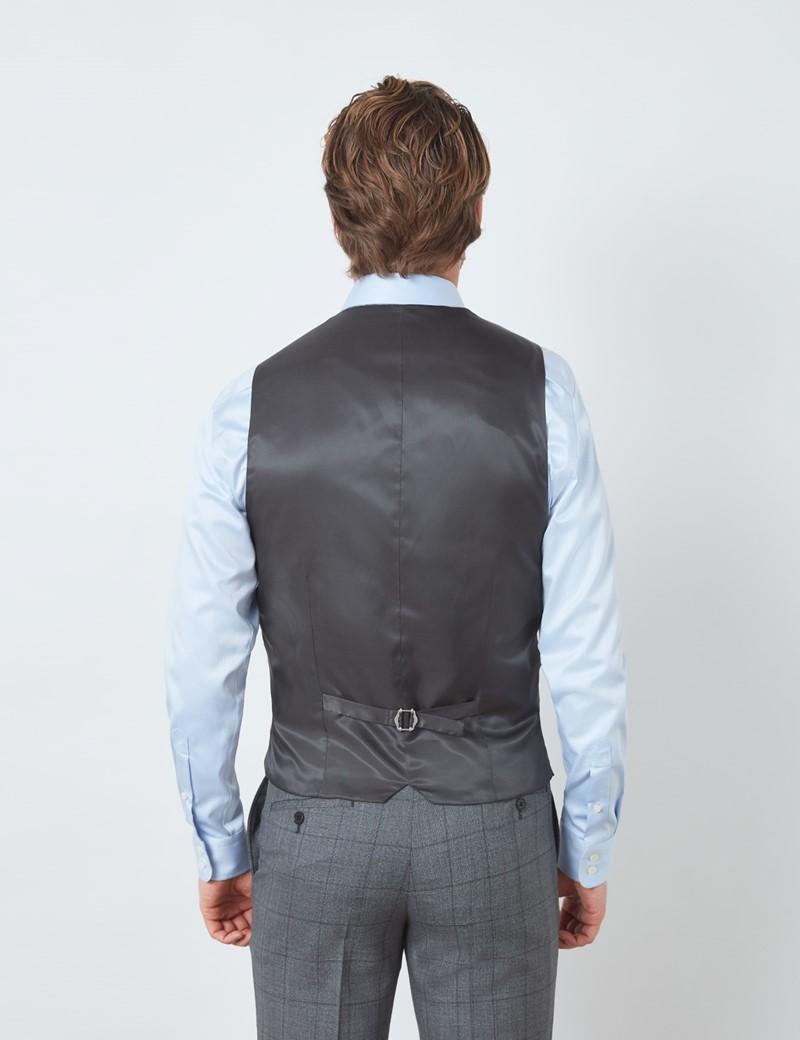 Men's Grey Tonal Check Slim Fit Waistcoat