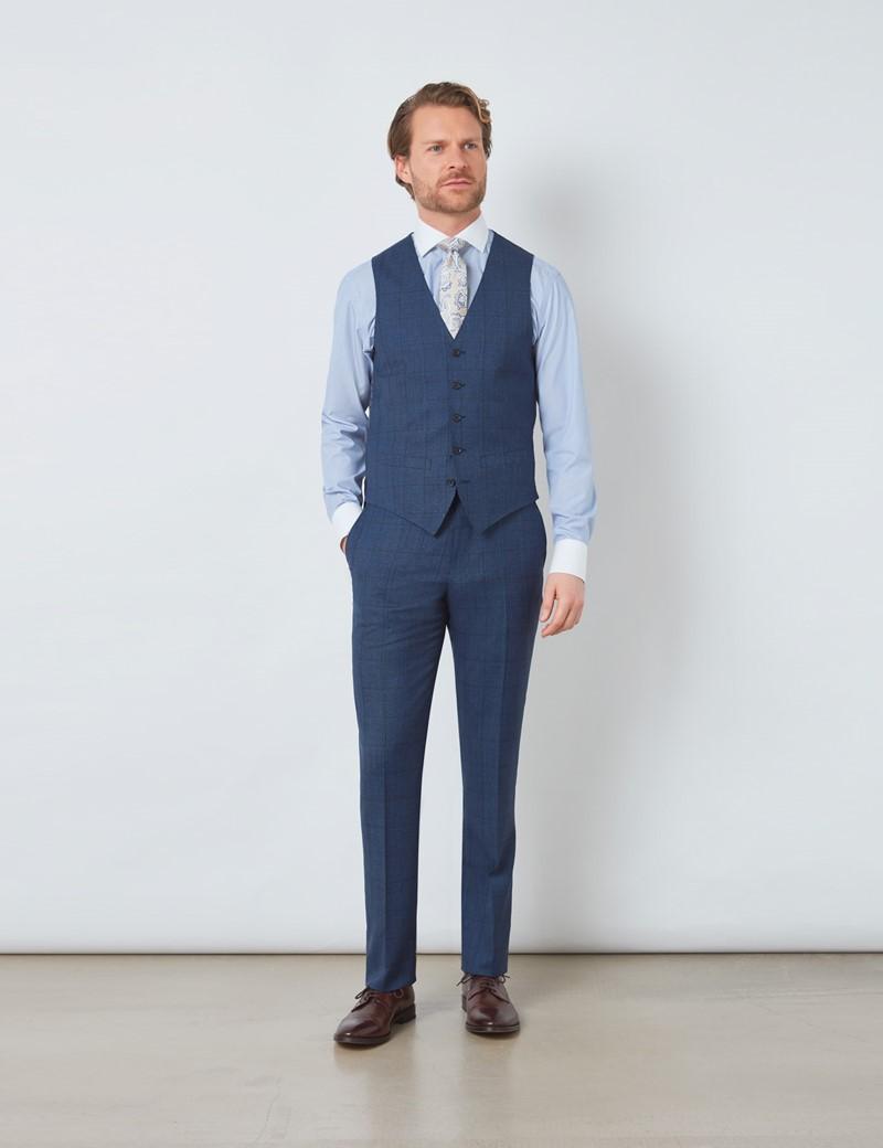 Men's Blue Tonal Check Classic Fit Waistcoat