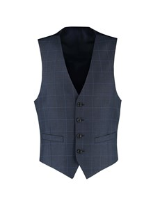 Men's Navy & Blue Windowpane Plaid Slim Fit Vest - Super 120s Wool