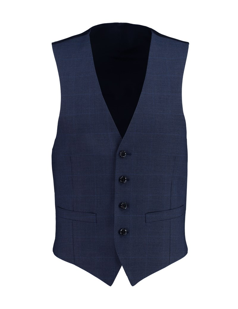Men's Navy Prince of Wales Check Slim Fit Waistcoat