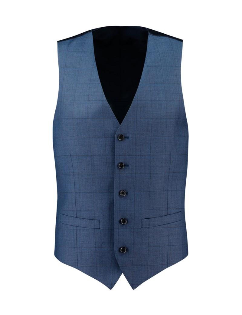 Weste - Slim Fit  - 120S Wolle - Gitterkaro blau