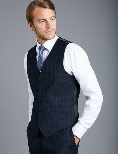 Men's Navy & Blue Overplaid Slim Fit  Vest