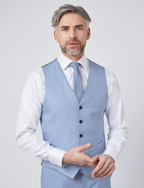 Men's Light Blue Linen Herringbone Tailored Fit Italian Waistcoat – 1913 Collection