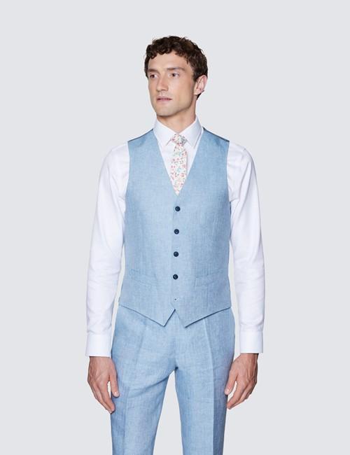Men's Light Blue Linen Herringbone Tailored Fit Italian Vest – 1913 Collection