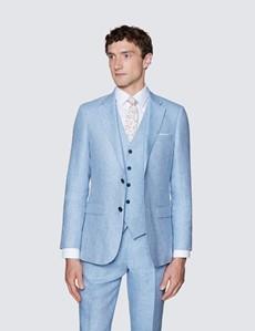 Men's Light Blue Linen Herringbone Tailored Fit Italian Waistcoat – 1913 Collection
