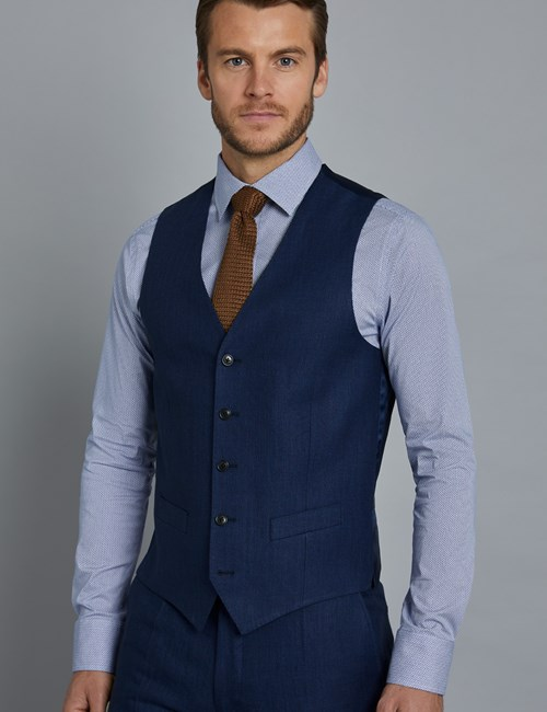 Men's Royal Blue Herringbone Linen Tailored Fit Italian Waistcoat - 1913 Collection
