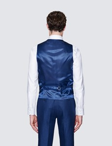 1913 Kollektion – Weste – Tailored Fit – Leinen – Fischgrat Blau