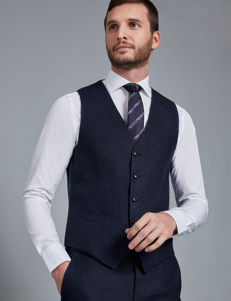 Men's Navy Linen Herringbone Tailored Fit Italian Vest – 1913 Collection
