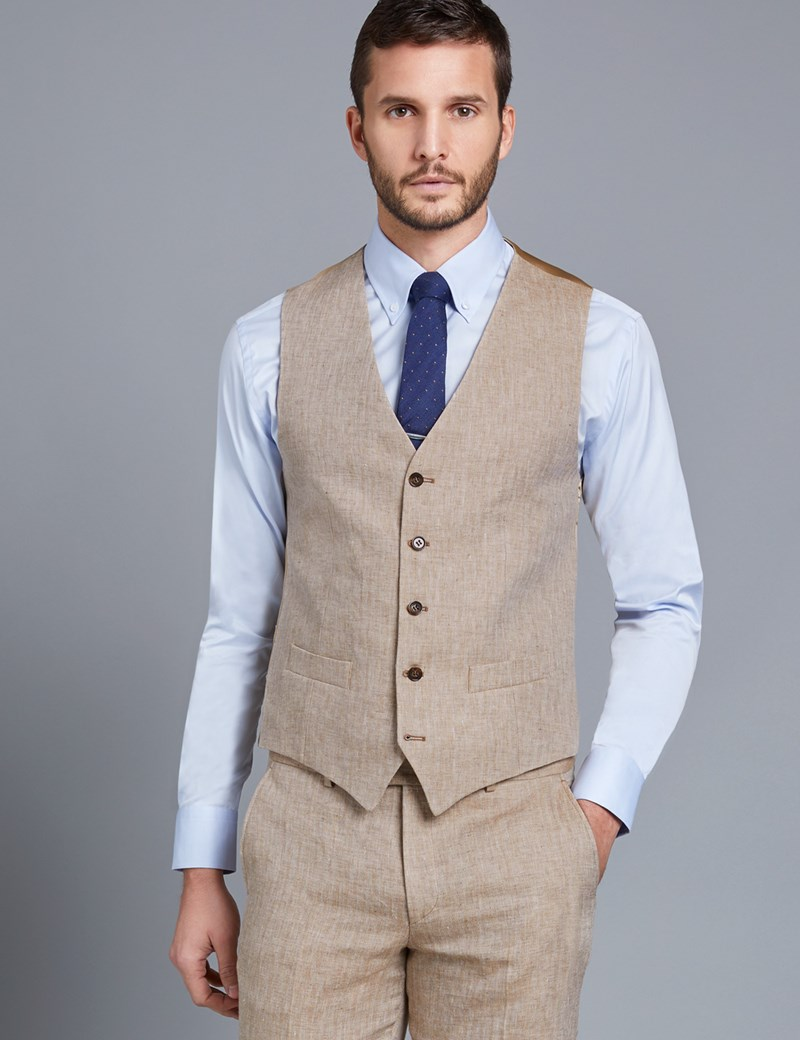 Men's Beige Linen Herringbone Tailored Fit Italian Waistcoat – 1913 Collection