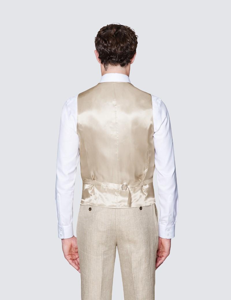 Men's Beige Linen Herringbone Tailored Fit Italian Waistcoat – 1913 Collection