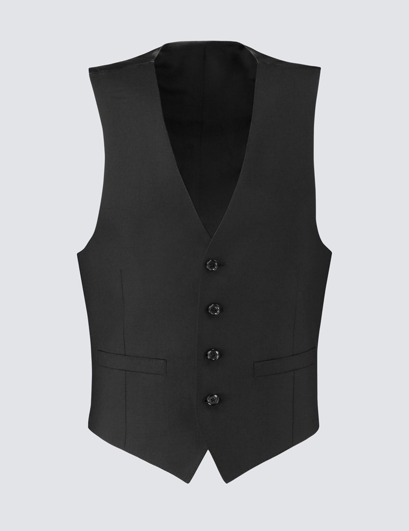 Men's Black Twill Slim Fit Vest