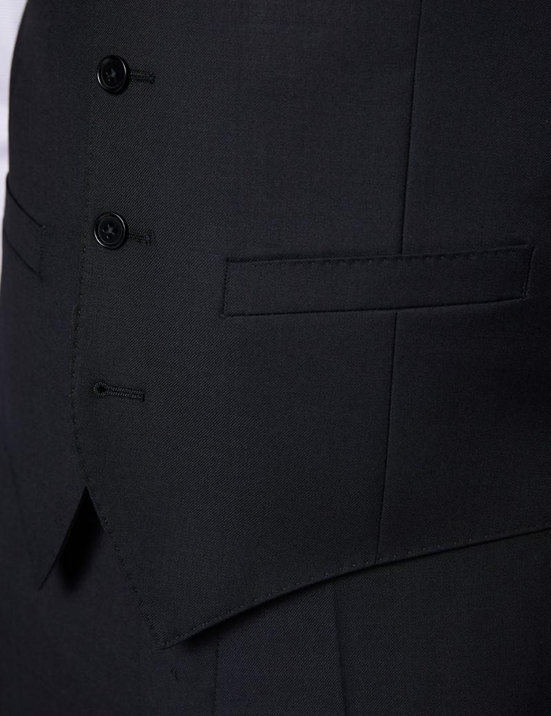 Men's Black Twill Slim Fit Waistcoat