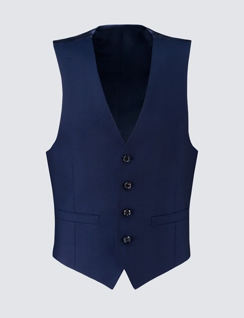 Men's Royal Blue Twill Slim Fit Vest