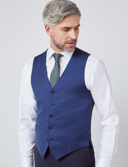 Men's Royal Blue Twill Slim Fit Vest