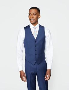 Men's Royal Blue Twill Slim Fit Waistcoat